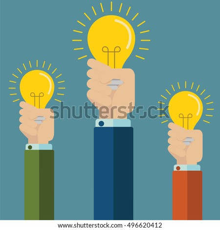 Flat style modern idea innovation light bulb concept. Conceptual web illustration of businessman hand holding lamp. Business strategy planning objects icon set collage.