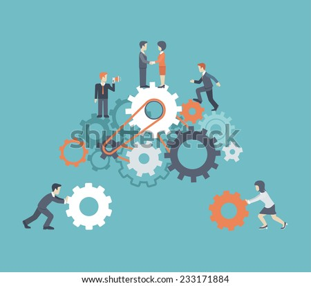 Flat style modern teamwork, workforce staff infographic concept. Conceptual web illustration of business people on cog wheels. Corporate company ladder of success leadership, human resource management