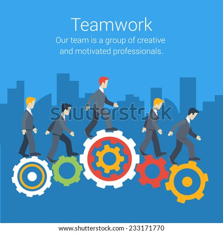 Flat style modern teamwork, workforce, staff infographic template concept. Conceptual web illustration of business people cog wheels city skyscrapers background. Leadership, human resource management.