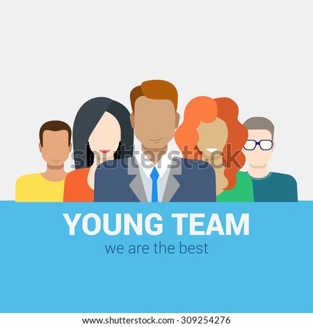 Flat style modern web infographic corporate human relations HR teamwork workforce team time and staff management concept. Creative people young businessmen collection.