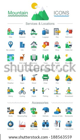 flat style mountain icons,vector