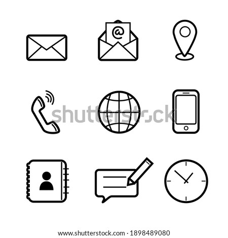 Flat style of Contact us vector line icon set for Business and Web Design. Communication symbol in simple minimalism on white background.