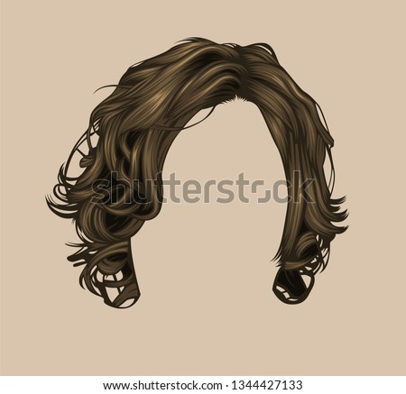 flat style of men hair style, brown long hair style Foto stock ©