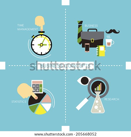 flat style of time management business statistics and research concepts