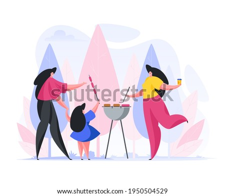 Flat style of vector image with happy women and little girl sharing grilled sausages and drinks while having picnic in nature stock photo