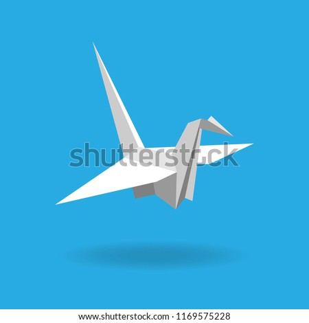 Flat style paper cranes or origami isolated on blue background. Vector illustration. #1169575228