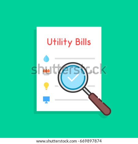 flat style payment of utility bills icon. unusual trend modern logo graphic art design isolated on green background. concept of duty assessment and payment of debts for used house resources