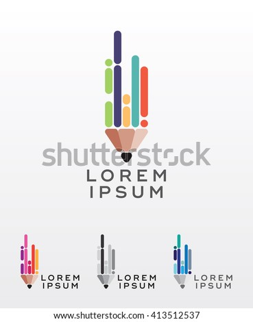 flat style pencil icon or logo