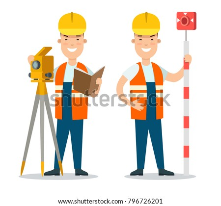 Flat style professional people character design vector icon set. Profession: road worker with traffic enforcement camera, man with speed photographed camera photo radar