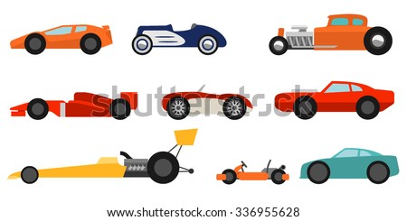 flat style race cars set