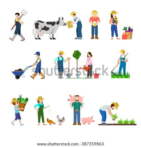 Flat style set of farm profession worker people web icons. Farmer agronomist agronome agriculturist stockbreeder grazier chicken pig breeder harvester beekeeper. Creative people collection.