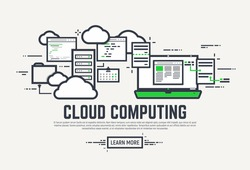 Flat style, thick and thin line design concept. Set of application window, servers, laptop and clouds. Cloud computing technology banner.