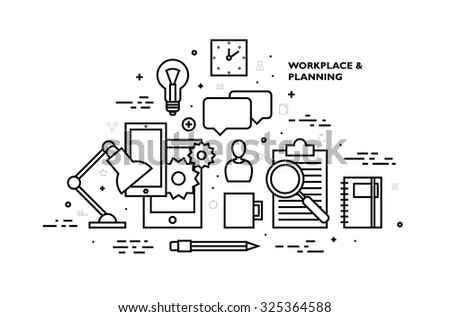 Flat Style, Thin Line Art Design. Set of application development, web site coding, information and mobile technologies vector icons and elements. Modern concept vectors collection. Black and white.