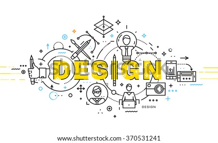 Flat Style, Thin Line Art Design. Set of application development, web site coding, information and mobile technologies vector icons and elements. Modern concept vectors collection. Design Concept