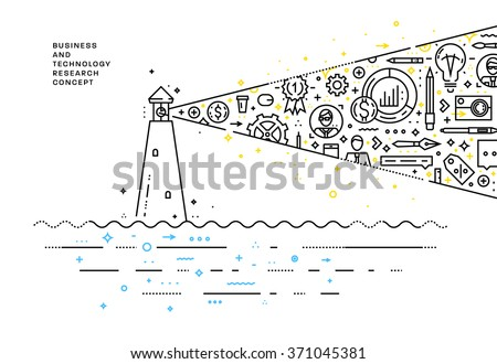 Flat Style, Thin Line Art Design. Set of application development, web site coding, information and mobile technologies vector icons and elements. Modern concept vectors collection. Lighthouse Concept.