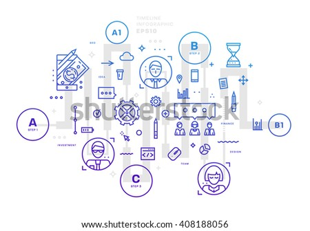 Flat Style, Thin Line Art Design. Set of application development, web site coding, information and mobile technologies vector icons and elements. Modern concept vectors collection. Steps and Options.