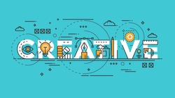 Flat Style, Thin Line Banner design of Creative, Idea, Colors, Drawing, vision, etc. Modern concept. Vector Illustartion
