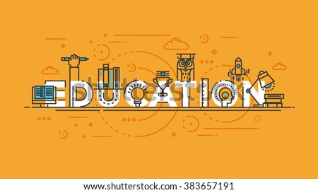 Flat Style, Thin Line Banner design of E learning, books, thinking, idea, achievement, learning, education, etc. Modern concept. Vector Illustartion