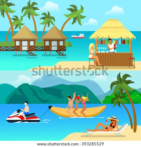 flat style tropical resort