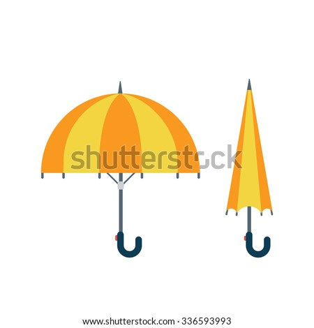 Flat style umbrella opened and closed icons