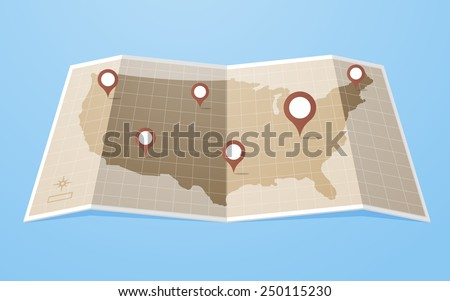 Flat style United States of America map with gps pointers .Layered vector illustration EPS 10 file.