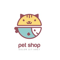 Flat style vector colorful illustration of funny muzzle of cat and smiling fish. Logo icon design template. Abstract concept for pet shop or veterinary.