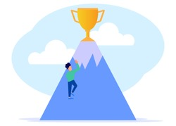 Flat style vector illustration. A young businessman climbing to the top of the mountain is a golden trophy. The concept of leadership and achievement.
