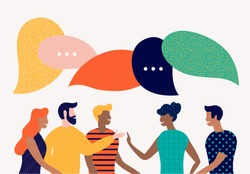 Flat style vector illustration, discuss social network, news, chat, dialogue speech bubbles
