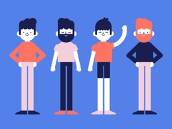 Flat style vector illustration: group of man, men, boy, boys, people character, young, simple, minimalist and happy