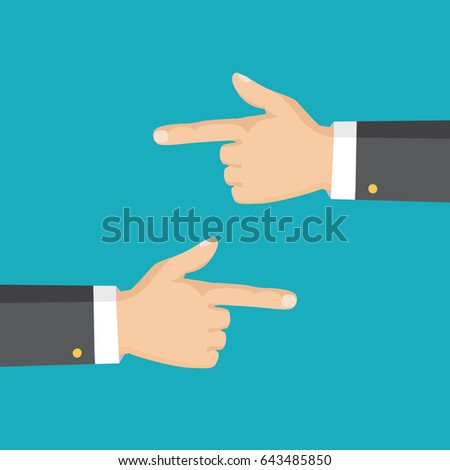 Flat style. Vector illustration. Hand with pointing finger left and right side.