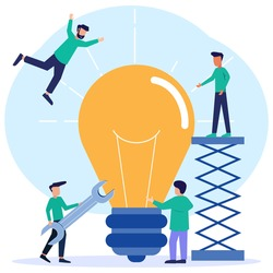 Flat style vector illustration looking for ideas working together brainstorming. Creative and innovative process with critical thinking. Light bulbs as bright unrealized thoughts.