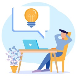 Flat style vector illustration looking for office worker ideas. Creative and innovative process with critical thinking. Light bulbs as bright unrealized thoughts.