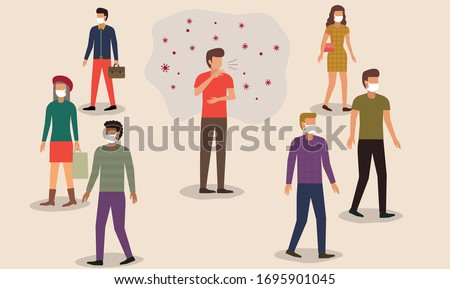 Flat style vector illustration of cartoon character man sneezing or cough in the crowd. People in face mask protect themself from germ. Fear of contagious disease. Anxiety about Wuhan corona virus. Photo stock ©
