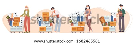 Flat style vector illustration of cartoon character People in face mask are panic shopping. Food and supplies store up. Anxiety about suffered from disease outbreak.