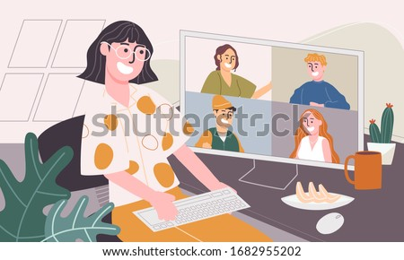 Flat style vector illustration of cartoon character working from home. Concept of people working online, meeting conference at home, New normal. Social-distance during corona virus quarantine.