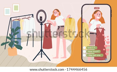 Flat style vector illustration of cartoon woman character selling clothes online.  Girl broadcasting live video at home with giant smartphone. Concept of e-commerce, online selling, live streaming.