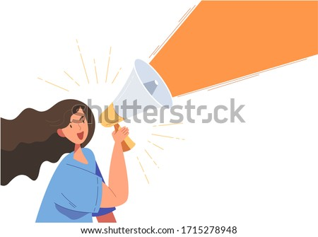 Flat style vector illustration of girl is holding a megaphone to announce something. Concept of advertisement or announcement a promotion or on sale merchandise. To inform or announce.