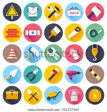 Flat style vector illustrations with long shadows; construction tools icons set.