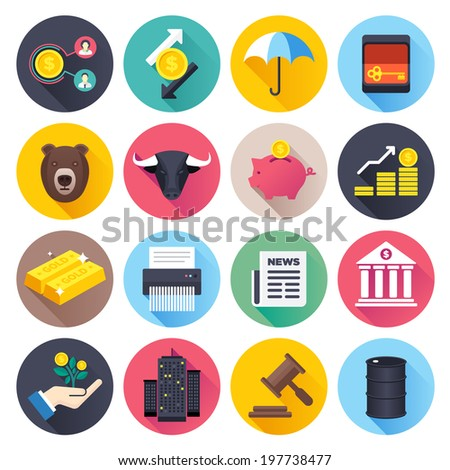 Flat style vector illustrations with long shadows; finance and stock market themed icons set.