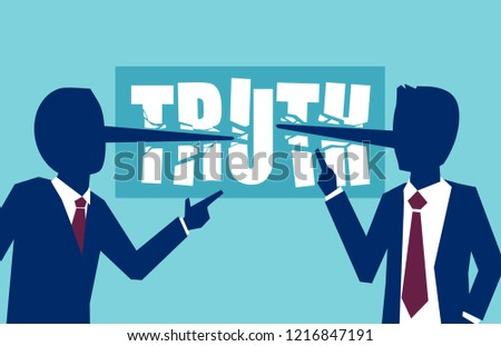 Flat style vector of two businessmen politicians lying to each other leading business dishonestly.