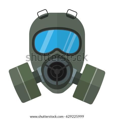 Stock Photo Flat style vector respirator chemical gas mask illustration isolated on white background.