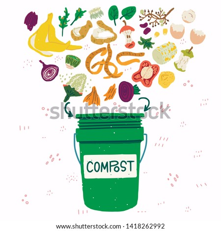 Flat style vegetable kitchen scraps and green compost bin on background with doodles. Organic waste for domestic composting. Parings and peelings of banana, egg, potato, apple, corn, onion, pepper