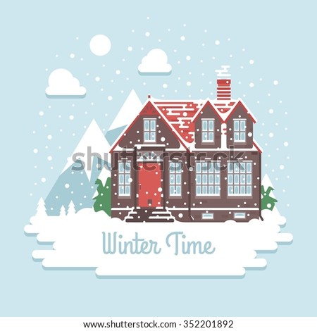 flat style winter house winter