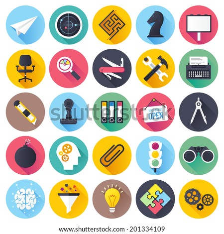 Flat style with long shadows, brainstorming and leadership themed vector illustrations. Circle icon set.