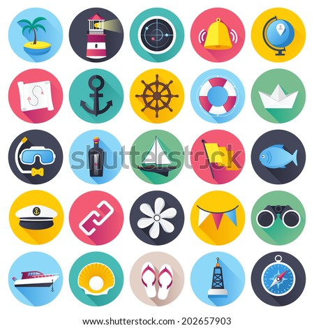 Flat style with long shadows, nautical an marine themed vector illustrations. Circle icon set.