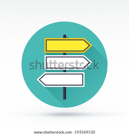 Flat style with long shadows, road signs vector icon illustration.