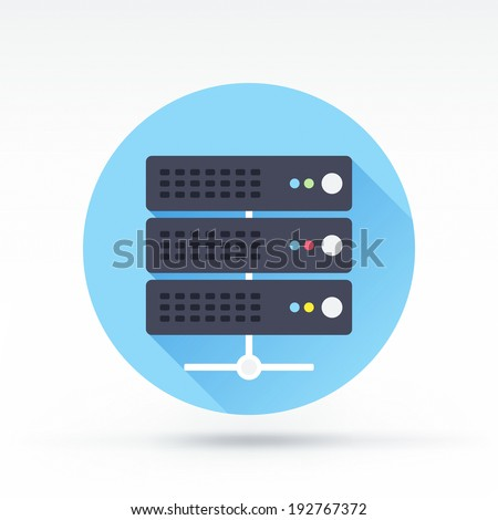 Flat style with long shadows, server vector icon illustration.