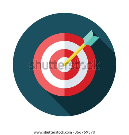 Flat style with long shadows, target & arrow vector icon illustration. Collection.