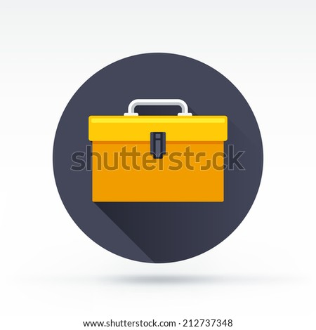 Flat style with long shadows, tool box vector icon illustration.