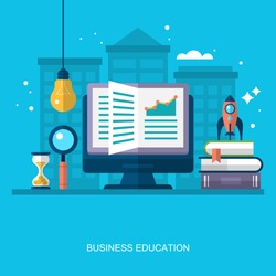 Flat stylish design for business education concept. Flat vector elements for web applications and banners